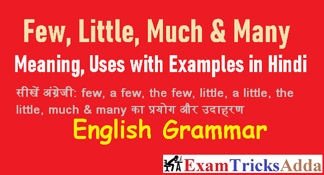 Few, Little, Much & Many Meaning, Uses with Examples in Hindi - English Grammar and Translations