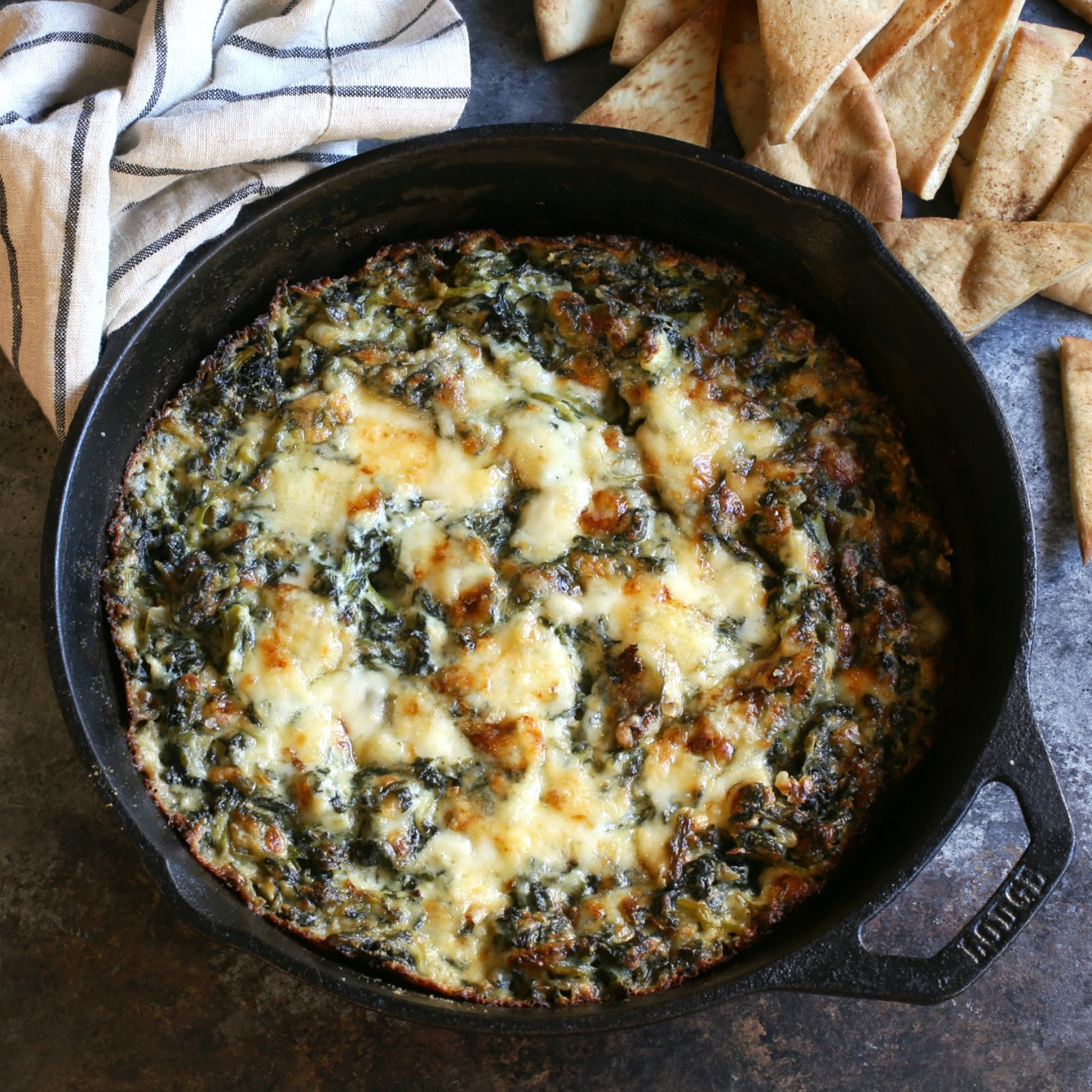 Hot baked spinach dip with 3 cheeses.