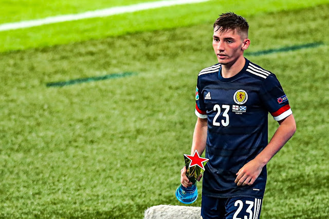 Billy Gilmour with his man of the match trophy at Euro 2020