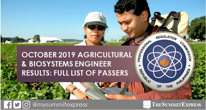 FULL RESULTS: October 2019 Agricultural and Biosystems Engineer board exam list of passers