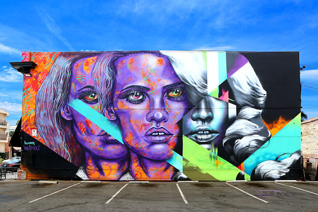 Our friend Madsteez just finished working on a large new piece in Long Beach where he teamed up with Hueman.