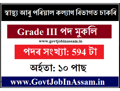 DHSFW, Assam Recruitment 2020 :: Apply Online For 594 Grade III (Technical & Non-Technical) Posts [Link Active]