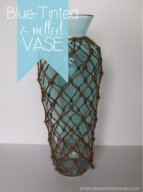 blue tinted netted vase