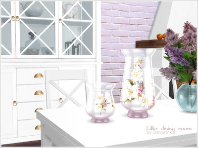 Lillie dining room Лили столовая для The Sims 4 Набор мебели и декора для столовой. 4 цвета мебели - белый, черный, светлое и темное дерево. Камины, поставленные в углу комнаты, имеют полку с 7 прорезями. В набор входит 11 предметов: - камин (2 варианта) - шкаф - маленький шкаф - Таблица - стул - настенное зеркало - люстра - стеклянные вазы (2 варианта) - декоративные бутылки с фруктами Автор: Severinka