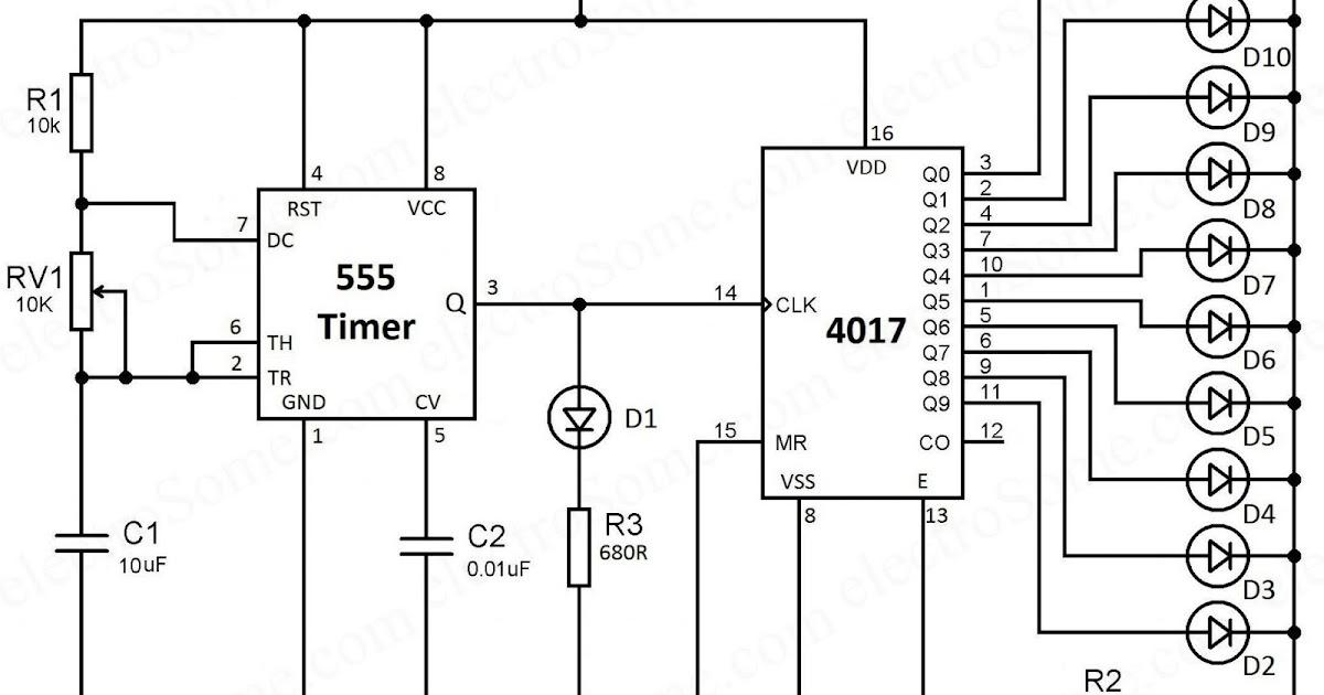 4017 ve 555 Entegreli Ayarlanabilir 10'lu LED Yürüyen Işık