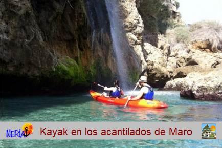Podrás realizar un paseo increible en un kayak de mar, por las aguas cristalinas de los acantilados del Paraje Natural Maro-Cerro Gordo, disfruta de estos bellos paisajes y de una nueva aventura junto al mar, de la que no te arrepentirás