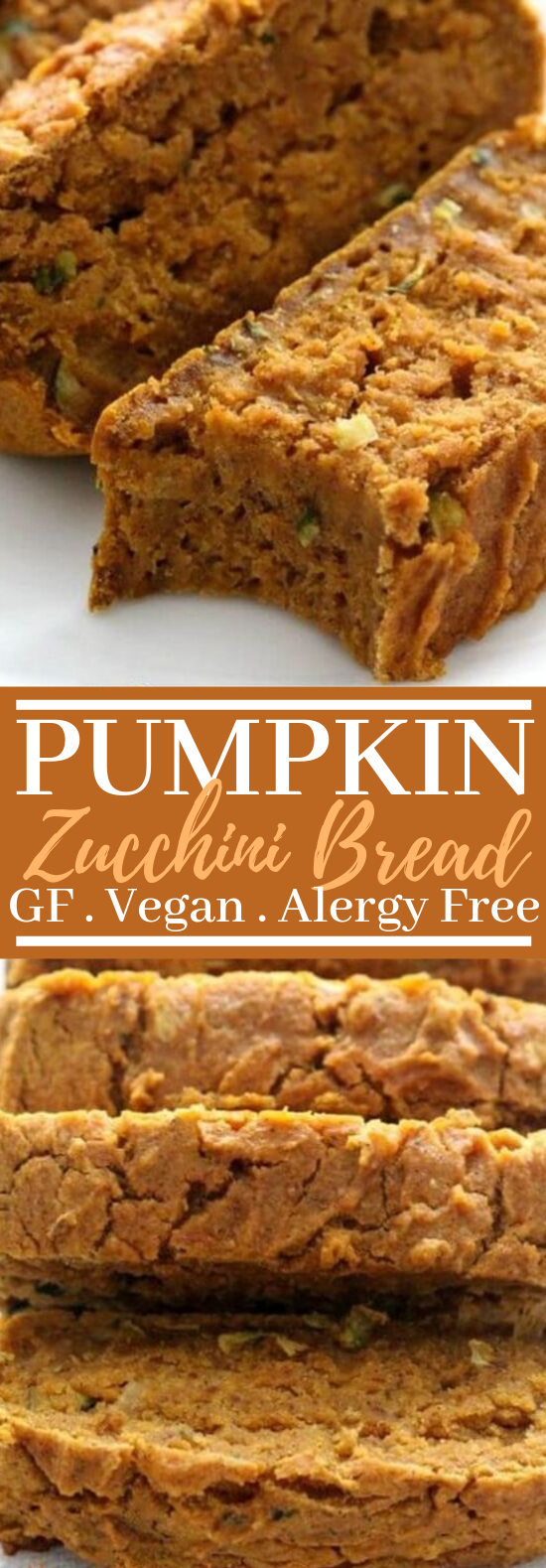 Gluten-Free Pumpkin Zucchini Bread (Vegan, Allergy-Free) #vegan #breakfast