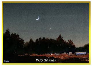 水彩クリスマスカード「ホーリーナイト」
