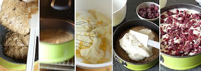 Zubereitung Schoko-Himbeer-Käsekuchen (Doppeldeckertorte mit Himbeeren)