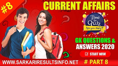 Current Affairs-GK Questions and Answers Part #8 to enhance your public awareness.