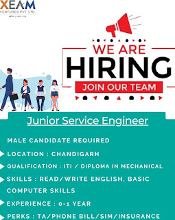 ITI and Diploma Holders Jobs Vacancy in Xeam Ventures Pvt Ltd Chandigarh Location For Junior Service Engineer Post