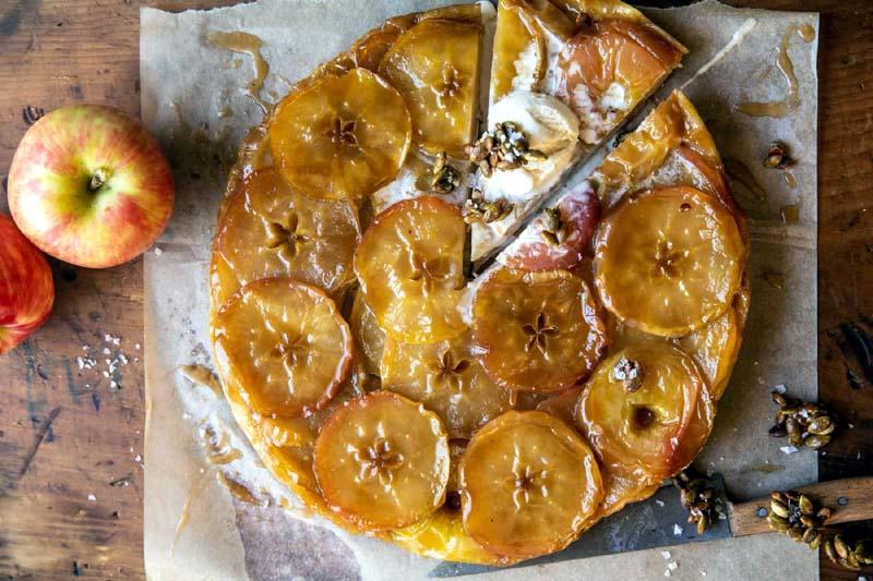 Salted Maple Apple Tarte Tatin with Cinnamon Pumpkin Seeds