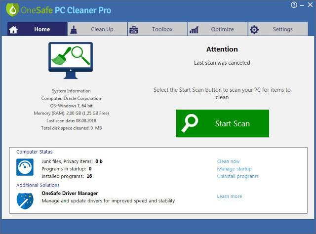 Screenshot OneSafe PC Cleaner Pro 6.9.10.50 Full Version