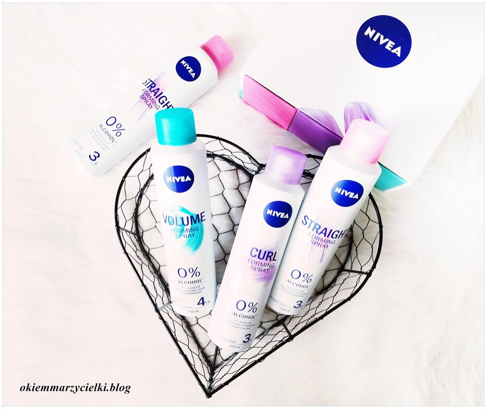 Stylizacja włosów z marką Nivea| Modelujące spraye do włosów bez alkoholu {Spray dodający objętość, Spray wygładzający oraz  Spray podkreślający skręt loków}, Nivea-recenzja #109