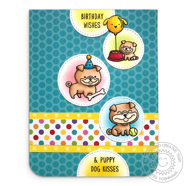 Sunny Studio Stamps: Puppy Parents & Devoted Doggies Birthday Card (using Rainbow Bright & Polka-dot Parade Paper, Staggered Circle Dies & Puppy Parents Stamps)