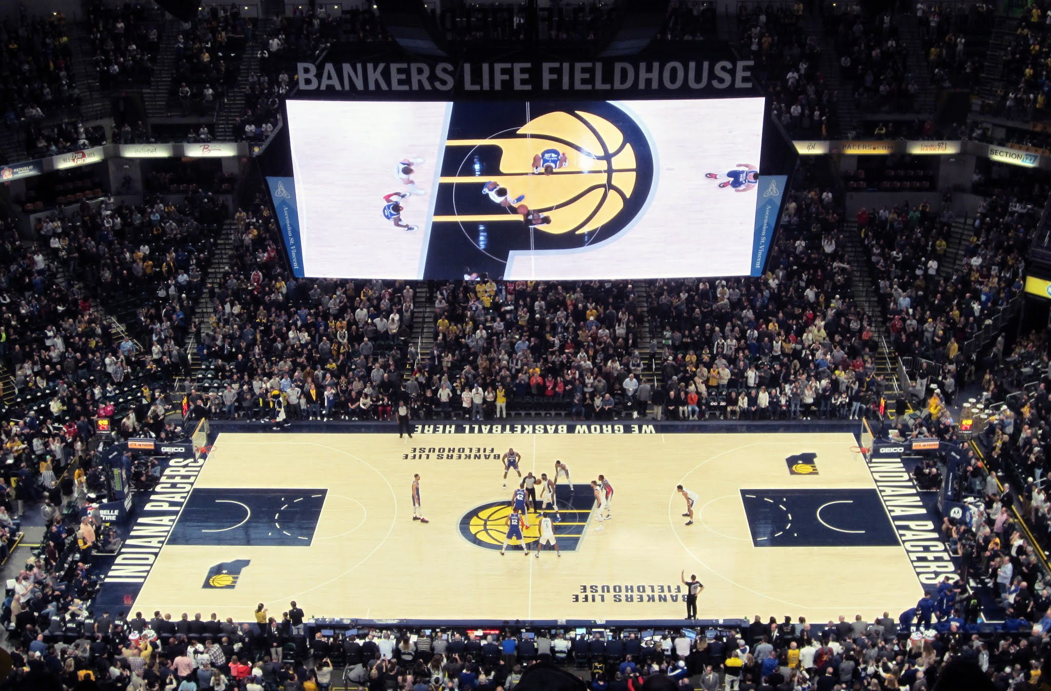 Tip off between the Pacers and 76ers at Bankers Life Fieldhouse
