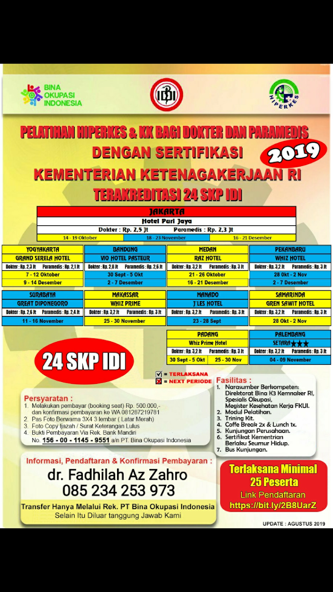 Jadwal Tahun 2019 Pelatihan HIPERKES dan Keselamatan Kerja penyelenggara PT Bina Okupasi Indonesia (24 SKP IDI)