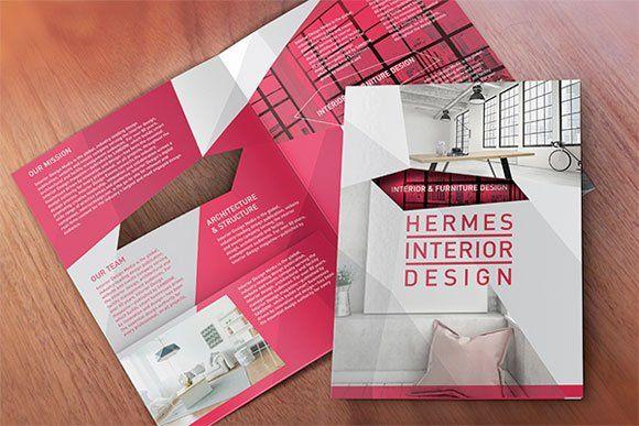 Desain brosur unik dan kreatif dengan hanya beberapa warna dari Hermes Interior Design