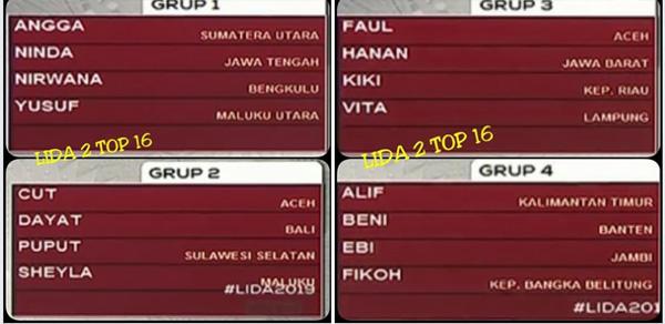 Pembagian Grup LIDA 2019 Top 16 Besar Tadi Malam