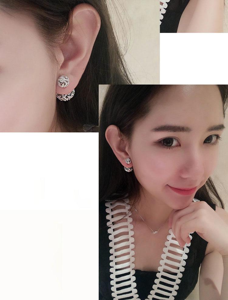 韓風水鑽鏤空大圓小圓耳環