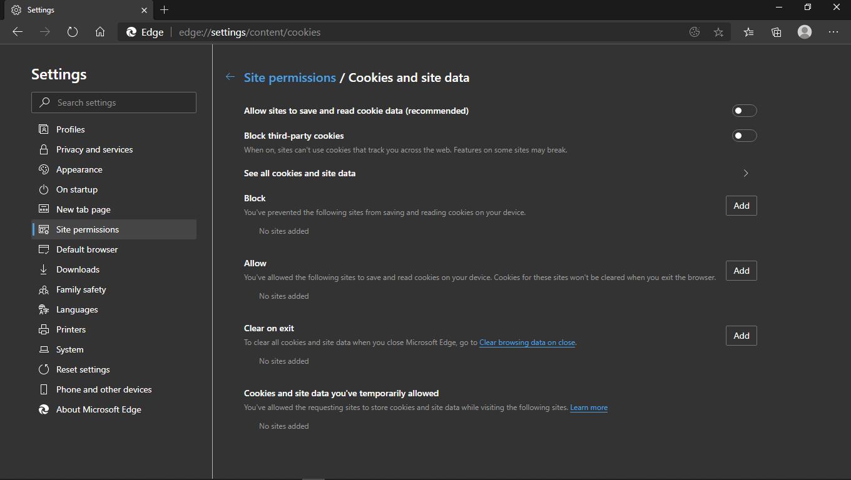 Mencegah Web Menyimpan Cookie di Edge Chromium