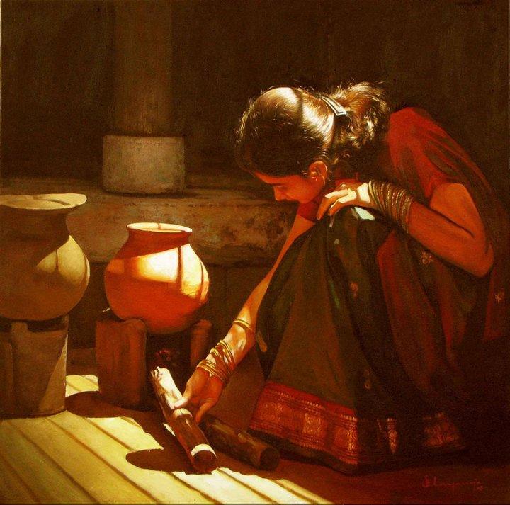 Rural Indian Women Paintings by Tamilnadu artist ilayaraja