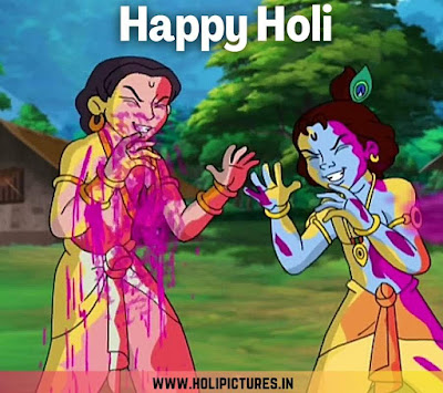 images of Radha Krishna playing Holi