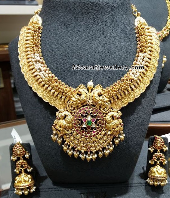 Kasu Necklace with Mango Jhumkas