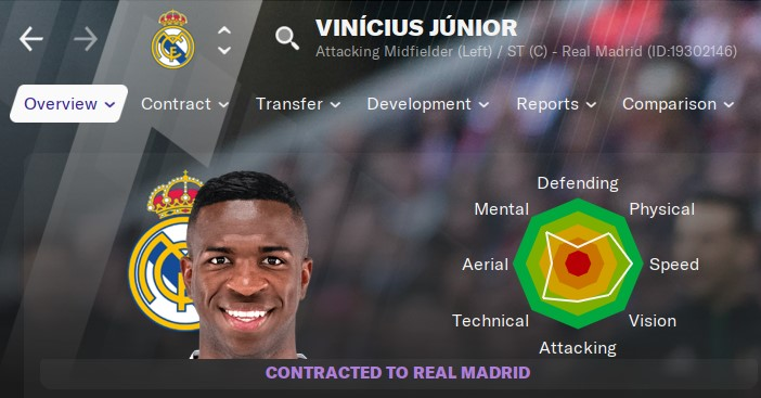 Vinicius Junior Manager 2021 FM21 FM2021