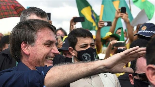 Brazilian President Jair  Bolsonaro joins protesters as Brazil political scandal heats up amid coronavirus pandemic