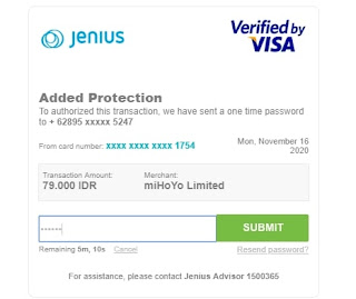 One time password credit card