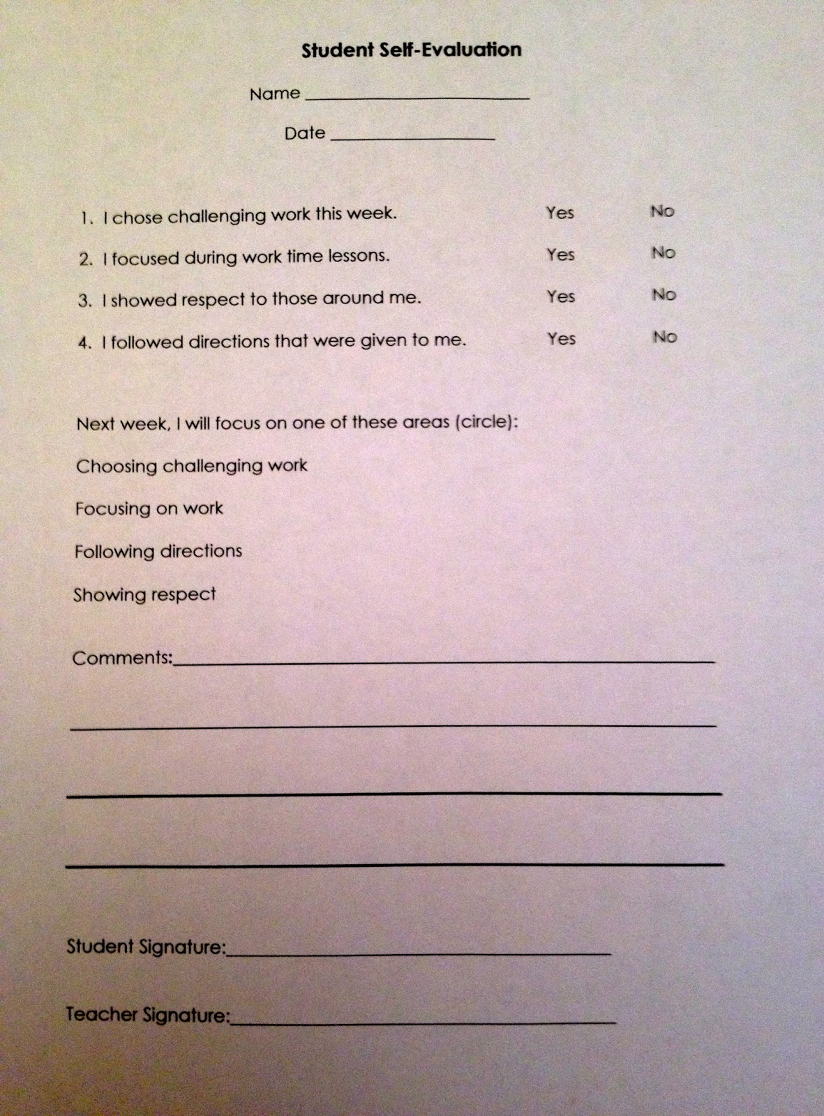 Kindergarten Student Self Evaluation Form
