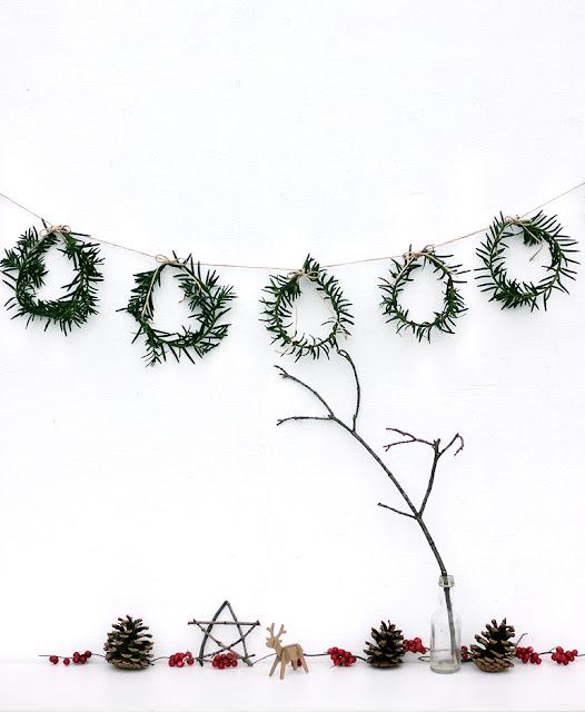 mini greenery wreath garland