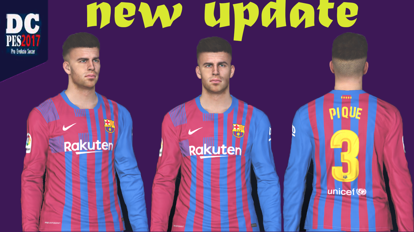 Face G Pique Update 21 22 Season For Pes 2017 Pes Patch Updates For Pro Evolution Soccer