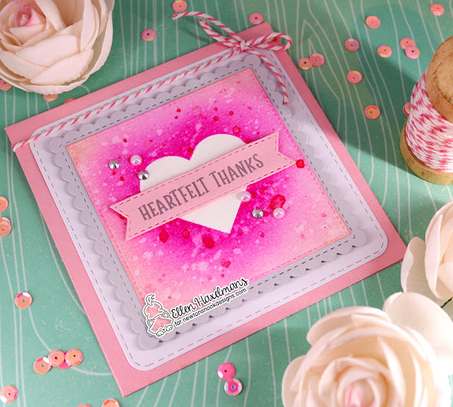 Heart Thank You Card by Ellen Haxelmans | Slimline Masking Hearts Stencil Set, Banner Trio Die Set, & Frames Squared Die Set by Newton's Nook Designs