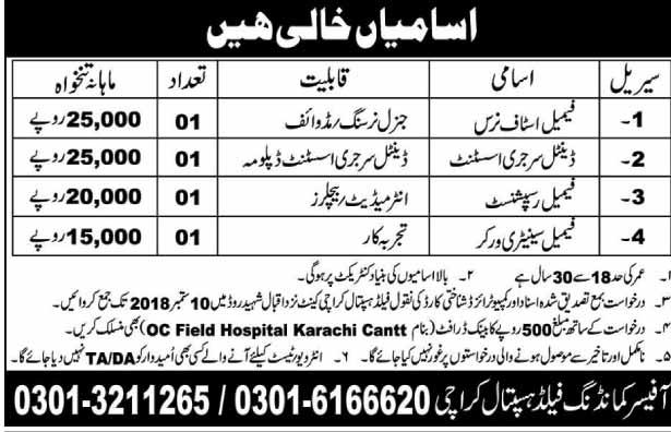 Commanding Field Hospital Karachi for Male & Female