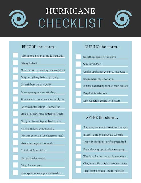 Prepare for a Hurricane Checklist