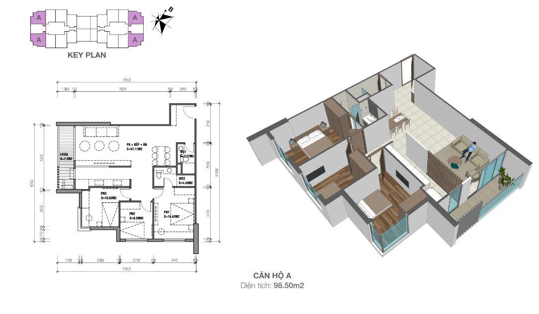 Căn hộ A 98m2 3 phòng ngủ Eco Dream City