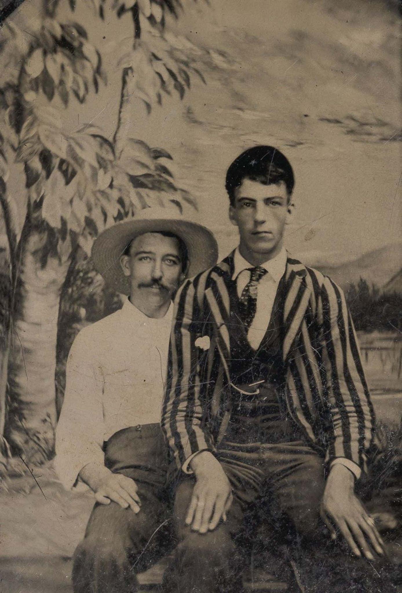 victorian men intimate embracing