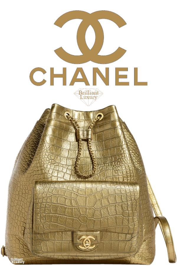 Brilliant Luxury♦Chanel Metallic Crocodile Embossed Calfskin Backpack #gold #bags