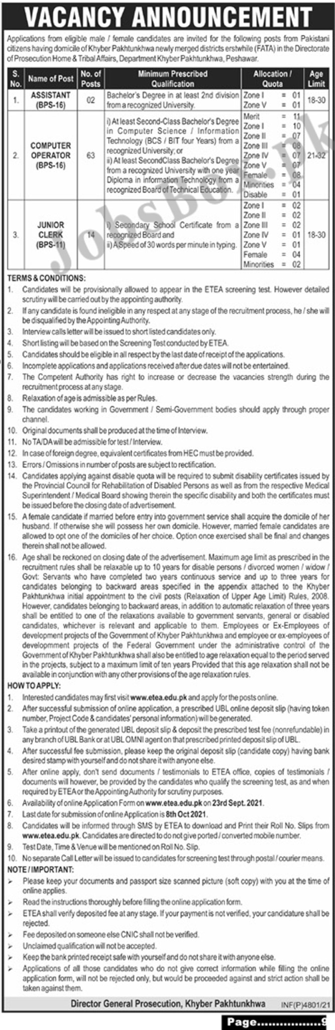 Prosecution Home & Tribal Affairs Department KPK Jobs 2021 in Pakistan