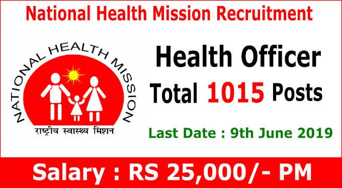 National Health Mission Recruitment 1015 CHO Posts