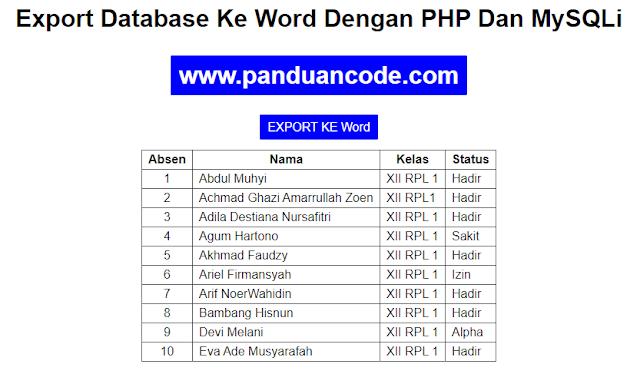 Cara Export Data Ke Word Dengan PHP
