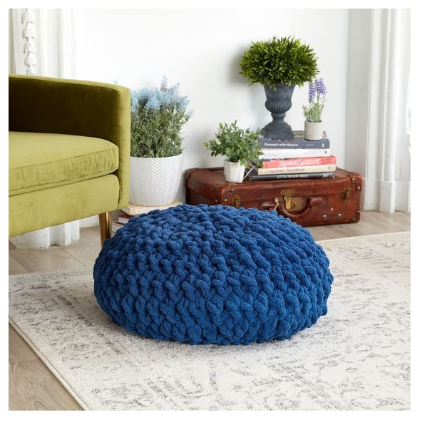 beautyfull best cute round table with  dongker blue crochet pouf for sofa corner