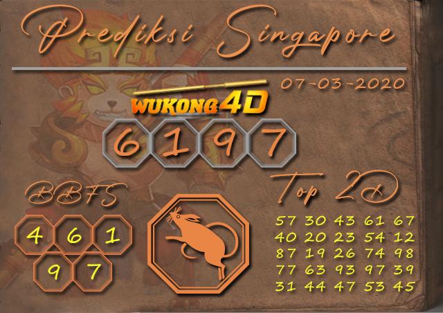 Prediksi Togel SINGAPORE WUKONG4D 07 MARET 2020