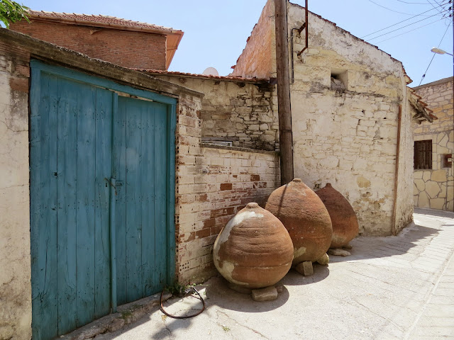 Cyprus Road Trip: Clay wine jugs in Omodos wine village