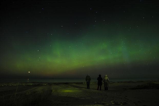 aurora austral no céu
