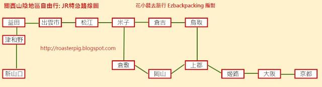 岡山+關西+山陰地區自由行行程規劃: JR特急路線圖