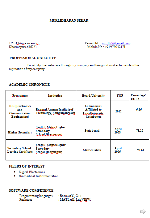 Electronic Resume Format | Resume Format Download Pdf