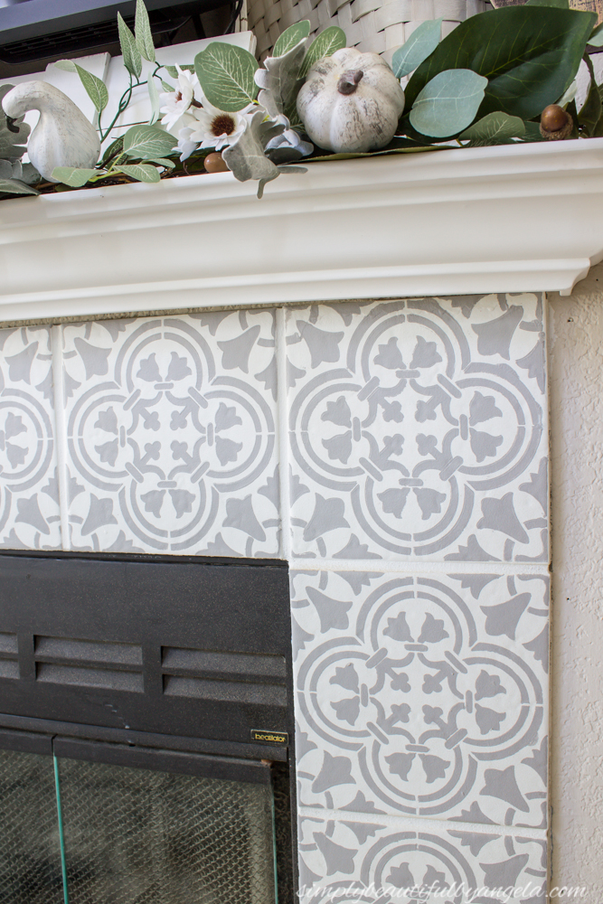 Simply Beautiful By Angela Diy Stenciled Tile Fireplace